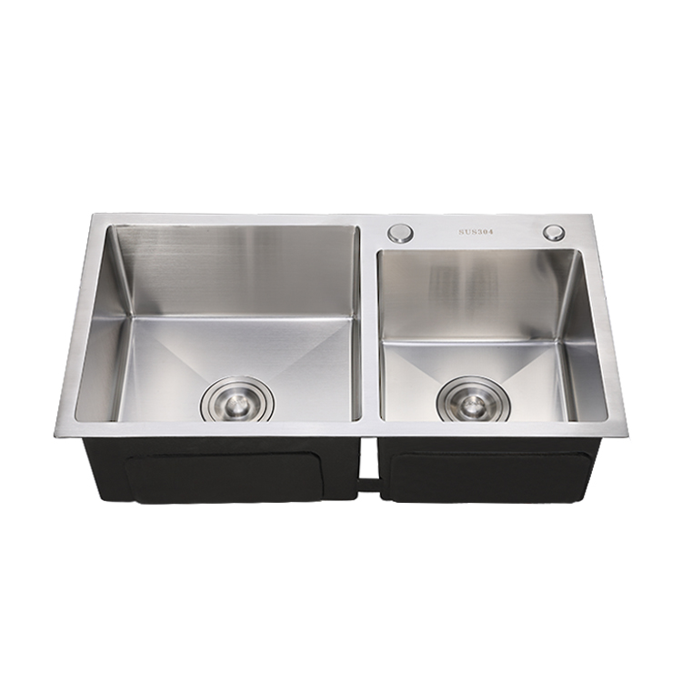 Apartment kitchen sink SS304 / 201 double bowl