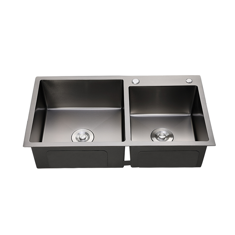 Nano Black Color Double bowl Handmade Stainless Steel Kitchen Sink