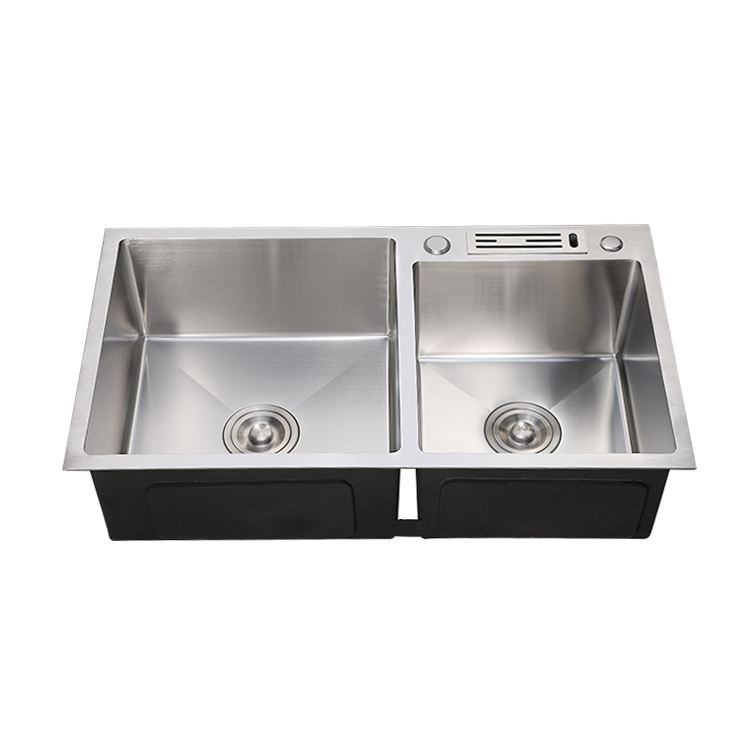 Wholesale Handmade double SUS304  kitchen sink with knife shelf