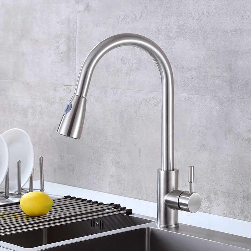 Pull down sprayer flexible hose stainless steel kitchen faucet