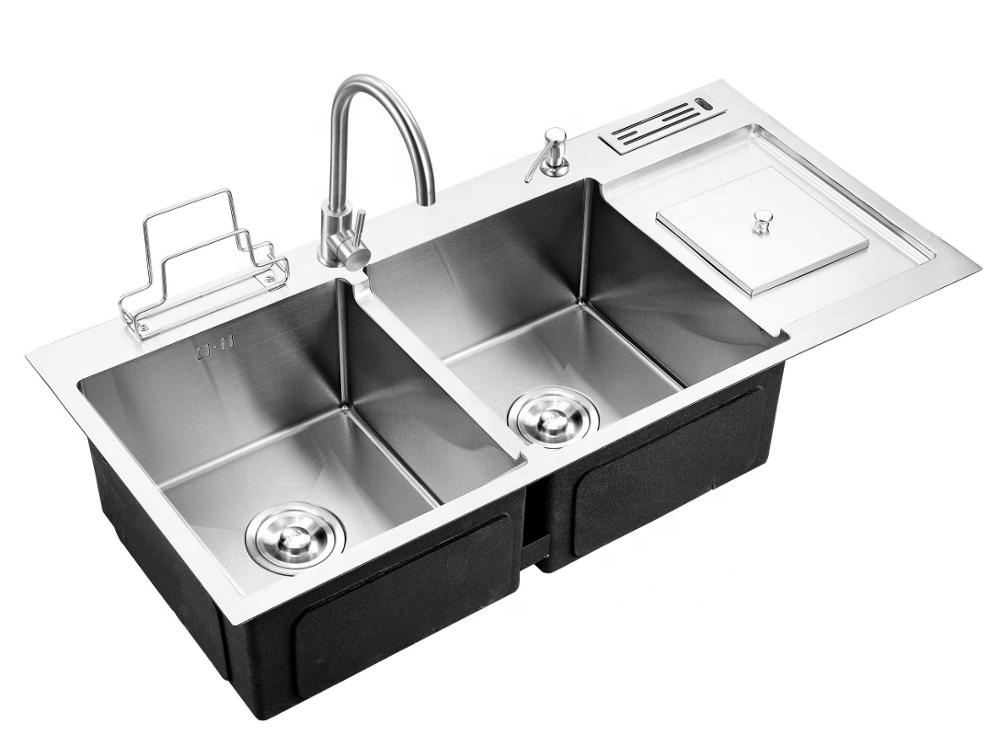 Fashion Topmount 304 Stainless Steel Handmade Double Bowl Kitchen Sink With bin