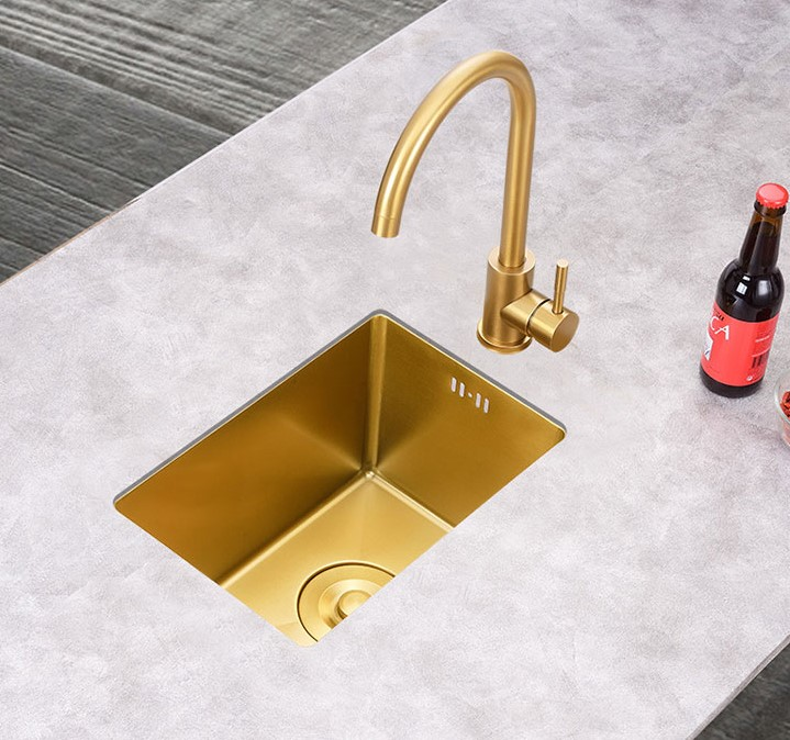 Custom small size nano gold color undermount single bowl bar kitchen sink
