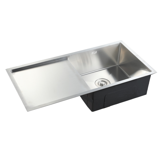 Handmade stainless steel undermount drain board single sink