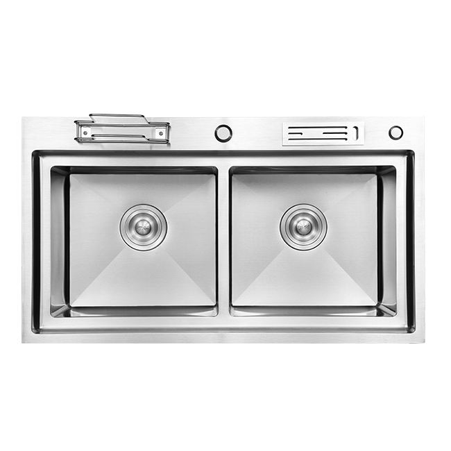Multifunction Handmade Double Stainless Steel Kitchen Sink With Waste Bin